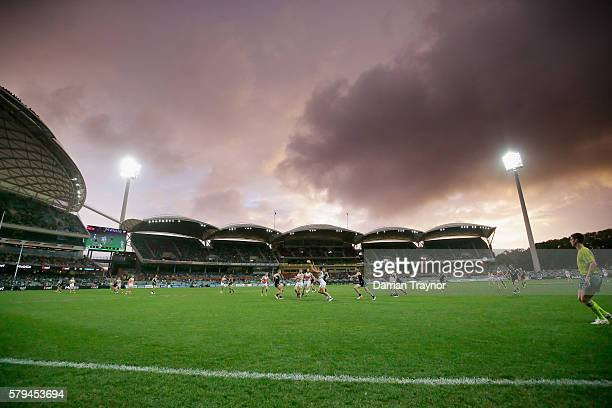 A general view during the round 18 AFL match between the Port Adelaide Power and the Greater Western Sydney Giants at Adelaide Oval on July 24 2016...
