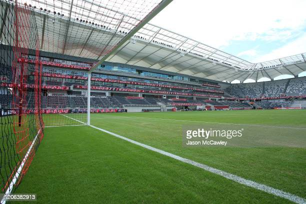 A general view during the round 19 ALeague match between the Western Sydney Wanderers and the Newcastle Jets at Bankwest Stadium on February 15 2020...