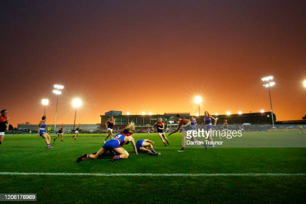 A general view during the round 2 AFLW match between the the Western Bulldogs and Melbourne Demons at Whitten Oval on February 14 2020 in Melbourne...