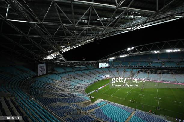 General view during the round 2 NRL match between the Canterbury Bulldogs and the North Queensland Cowboys at ANZ Stadium on March 19, 2020 in...