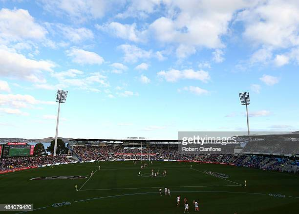 A general view during the round 20 AFL match between the North Melbourne Kangaroos and the St Kilda Saints at Blundstone Arena on August 15 2015 in...