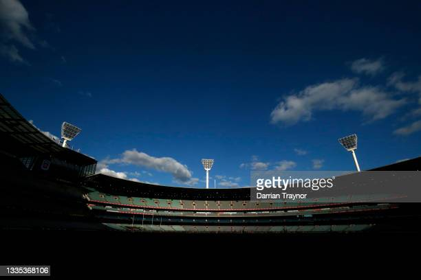 General view during the round 23 AFL match between Richmond Tigers and Hawthorn Hawks at Melbourne Cricket Ground on August 21, 2021 in Melbourne,...