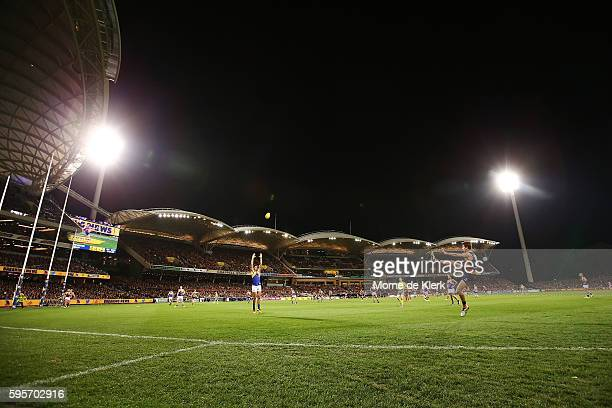 A general view during the round 23 AFL match between the Adelaide Crows and the West Coast Eagles at Adelaide Oval on August 26 2016 in Adelaide...