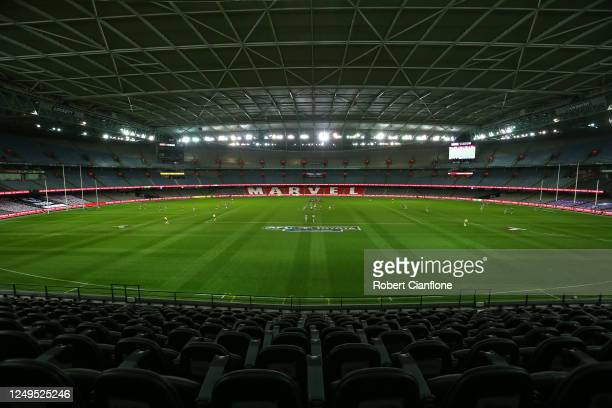 General view during the round 3 AFL match between the St Kilda Saints and the Western Bulldogs at Marvel Stadium on June 14, 2020 in Melbourne,...