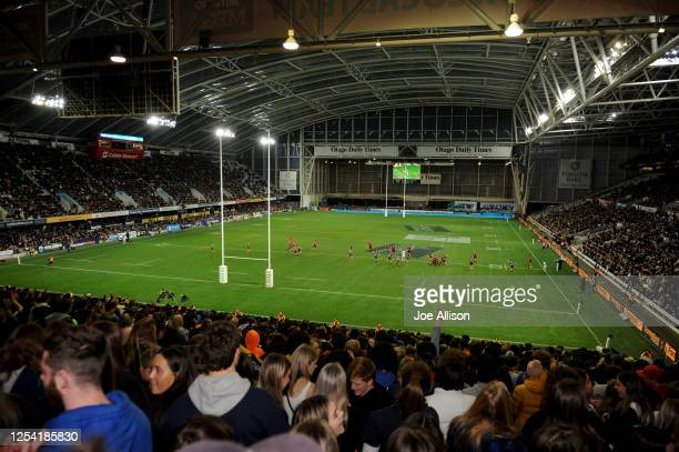 General view during the round 4 Super Rugby Aotearoa match between the Highlanders and the Crusaders at Forsyth Barr Stadium on July 04, 2020 in...