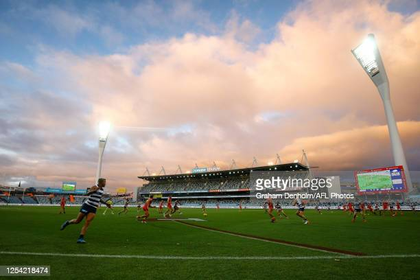 General view during the round 5 AFL match between the Geelong Cats and the Gold Coast Suns at GMHBA Stadium on July 04, 2020 in Geelong, Australia.