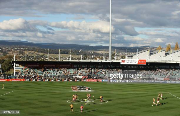 A general view during the round eight AFL match between the Hawthorn Hawks and the Brisbane Lions at University of Tasmania Stadium on May 13 2017 in...