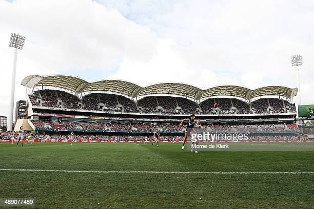 General view during the round eight AFL match between the Port Adelaide Power and Fremantle Dockers at Adelaide Oval on May 10, 2014 in Adelaide,...