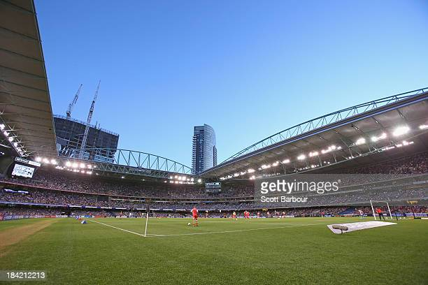 A general view during the round one ALeague match between the Melbourne Victory and the Melbourne Heart at Etihad Stadium on October 12 2013 in...