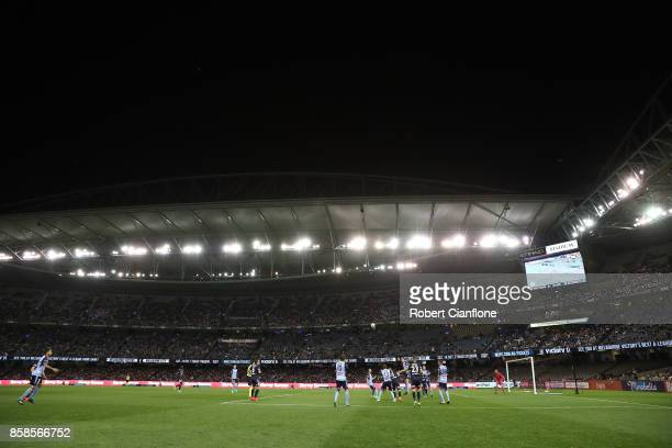 General view during the round one A-League match between the Melbourne Victory and Sydney FC at Etihad Stadium on October 7, 2017 in Melbourne,...