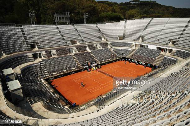 A general view during the round one match between Felix AugerAliassime of Canada and Filip Krajinovic of Serbia during day one of the Internazionali...