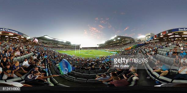 A general view during the round one Super Rugby match between the Blues and the Highlanders at Eden Park on February 26 2016 in Auckland New Zealand