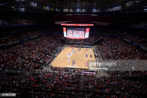 A general view during the round seven Super Netball match between the Swifts and the Lightning at Qudos Bank Arena on June 17 2018 in Sydney Australia