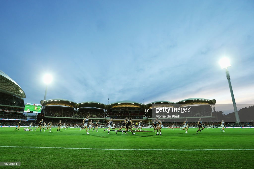 A general view during the round six AFL match between Port Adelaide Power and the Geelong Cats at Adelaide Oval on April 27, 2014 in Adelaide, Australia.