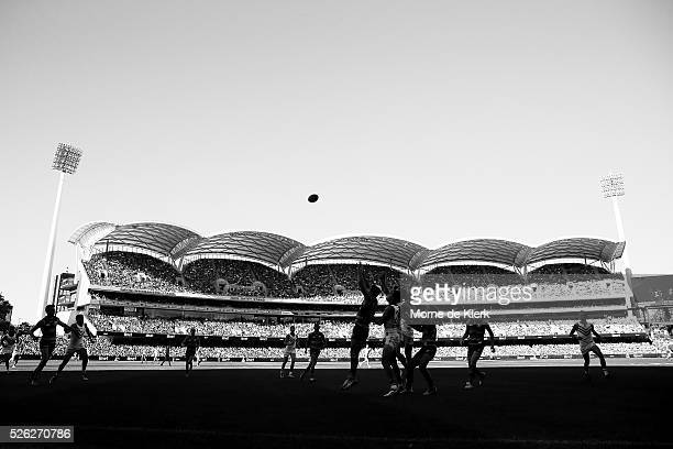 General view during the round six AFL match between the Adelaide Crows and the Fremantle Dockers at Adelaide Oval on April 30, 2016 in Adelaide,...
