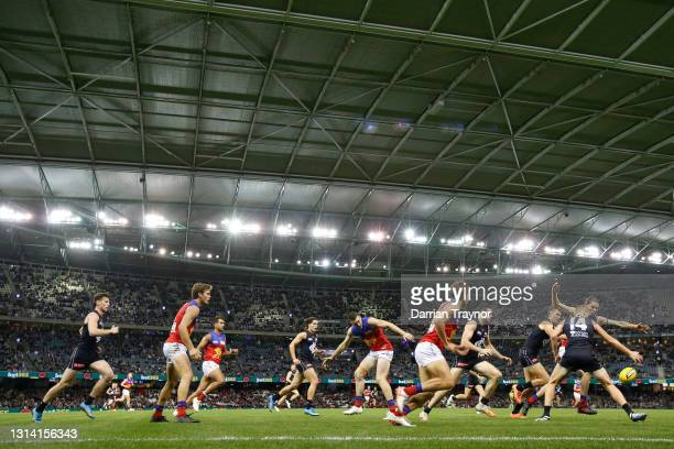 General view during the round six AFL match between the Carlton Blues and the Brisbane Lions at Marvel Stadium on April 24, 2021 in Melbourne,...