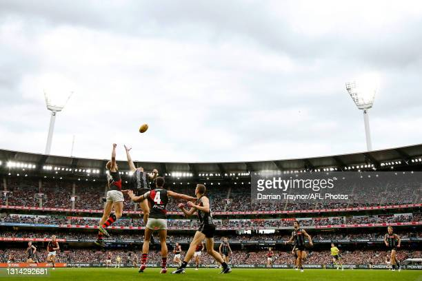 General view during the round six AFL match between the Collingwood Magpies and the Essendon Bombers at Melbourne Cricket Ground on April 25, 2021 in...