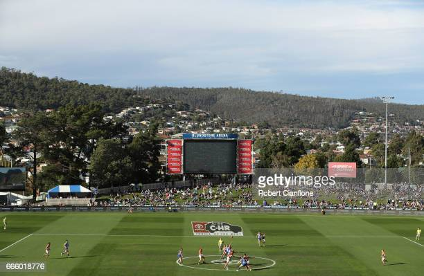 A general view during the round three AFL match between the North Melbourne Kangaroos and the Greater Western Sydney Giants at Blundstone Arena on...