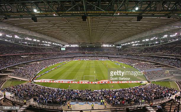 A general view during the round three ALeague match between Melbourne Victory and Brisbane Roar at Etihad Stadium on October 25 2013 in Melbourne...