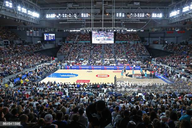 A general view during the round three NBL match between Melbourne United and the New Zealand Breakers at Hisense Arena on October 22 2017 in...