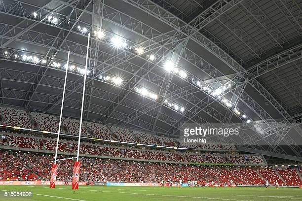 General view during the round three Super Rugby match between the Japan Sunwolves and the Cheetahs at Singapore National Stadium on March 12 2016 in...