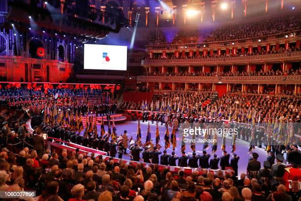 General view during the Royal British Legion Festival of Remembrance at the Royal Albert Hall on November 10 2018 in London England The Queen and...