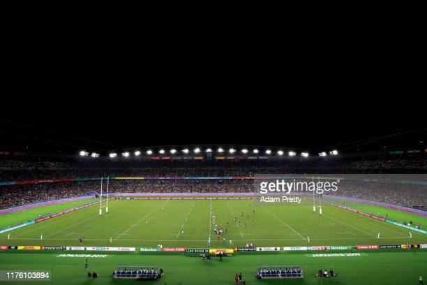 A general view during the Rugby World Cup 2019 Group B game between New Zealand and South Africa at International Stadium Yokohama on September 21...