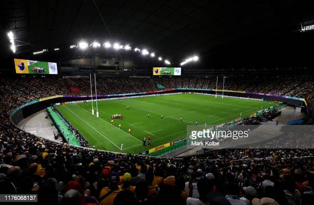General view during the Rugby World Cup 2019 Group D game between Australia and Fiji at Sapporo Dome on September 21, 2019 in Sapporo, Hokkaido,...