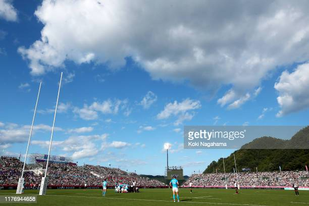A general view during the Rugby World Cup 2019 Group D game between Fiji and Uruguay at Kamaishi Recovery Memorial Stadium on September 25 2019 in...