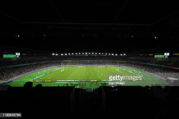 A general view during the Rugby World Cup 2019 SemiFinal match between England and New Zealand at International Stadium Yokohama on October 26 2019...