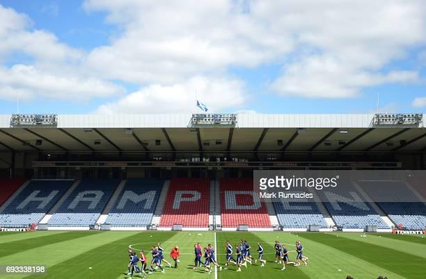 A general view during the Scotland training session at Hampden Park on June 7 2017 in Glasgow Scotland