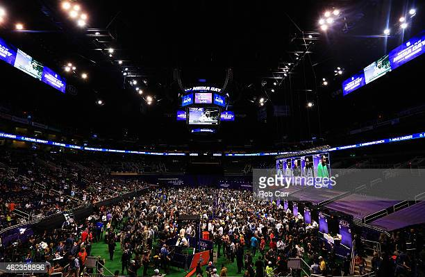 A general view during the Seattle Seahawks session during Super Bowl XLIX Media Day Fueled by Gatorade inside US Airways Center on January 27 2015 in...