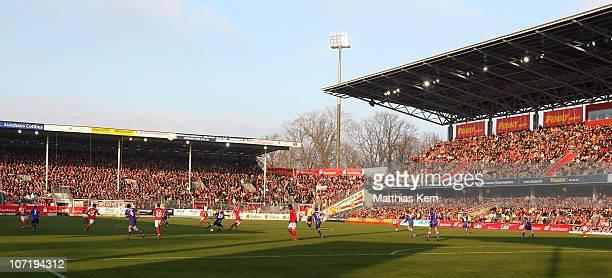 General view during the Second Bundesliga match between FC Energie Cottbus and Erzgebirge Aue at Stadion der Freundschaft on November 28, 2010 in...