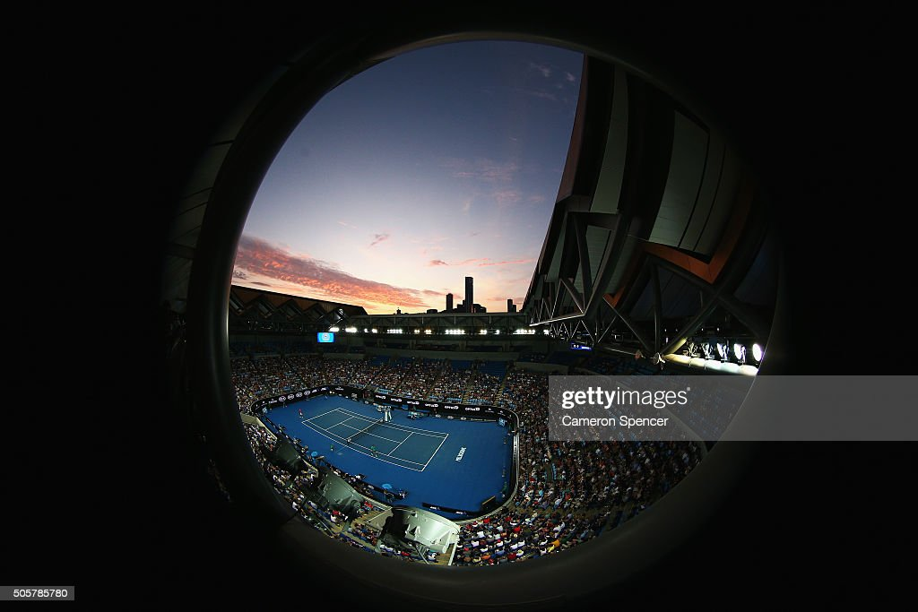 A general view during the second round match between Jo-Wilfried Tsonga of France and Omar Jaskia of Australia during day three of the 2016 Australian Open at Melbourne Park on January 20, 2016 in Melbourne, Australia.