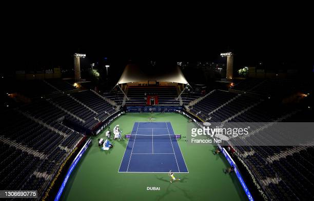 General view during the Semi-final match between Barbora Krejcikova and Jil Teichmann on Day Six of the Dubai Duty Free Tennis at Dubai Duty Free...