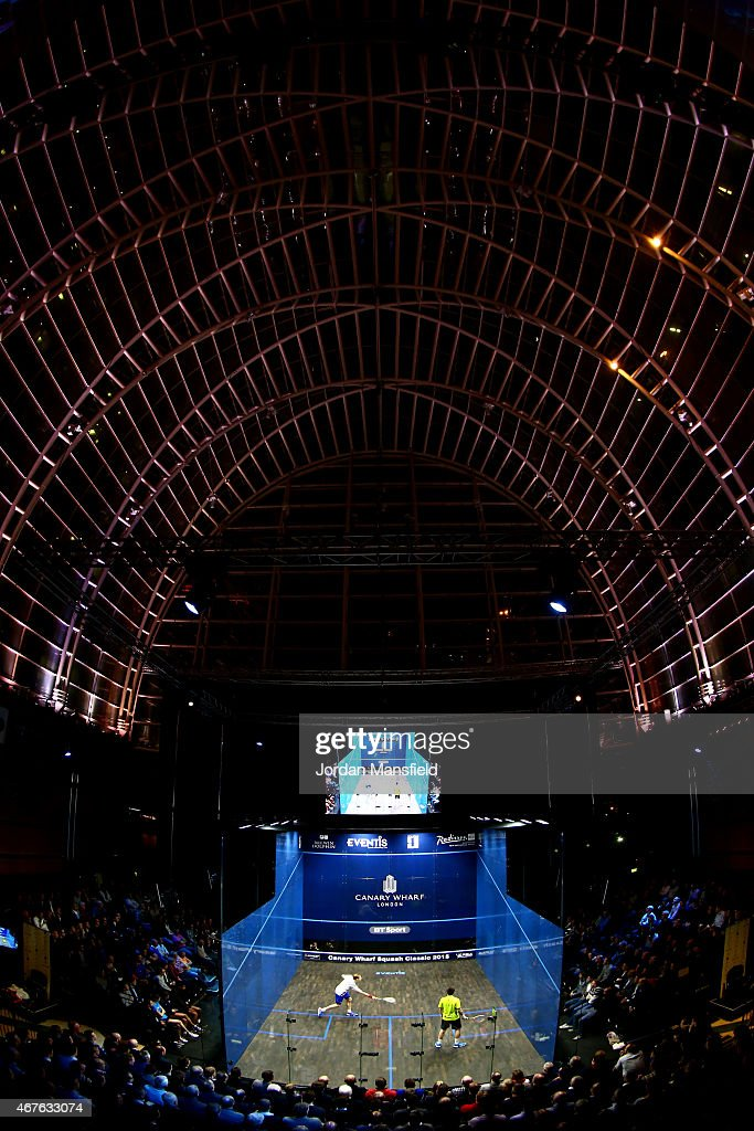 A general view during the semi-final match between Nick Matthew of Great Britain and Daryl Selby of Great Britain on Day 4 of the Canary Wharf Squash Classic at the East Wintergarden on March 26, 2015 in London, England.