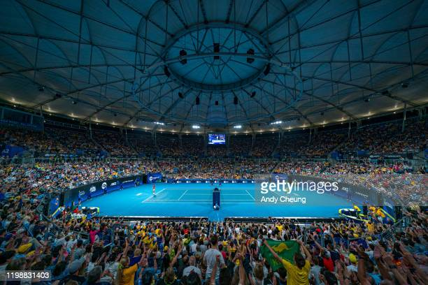 A general view during the semifinal singles match between Alex de Minaur of Australia and Rafael Nadal of Spain on day nine of the 2020 ATP Cup at...