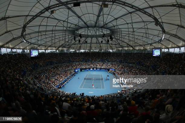A general view during the semifinal singles match between Nick Kyrgios of Australia and Roberto Bautista Agut of Spain during day nine of the 2020...