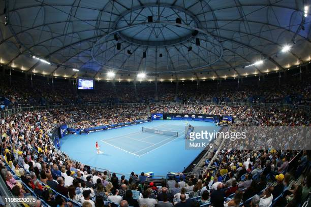 A general view during the semifinal singles match between Rafael Nadal of Spain and Alex de Minaur of Australia during day nine of the 2020 ATP Cup...