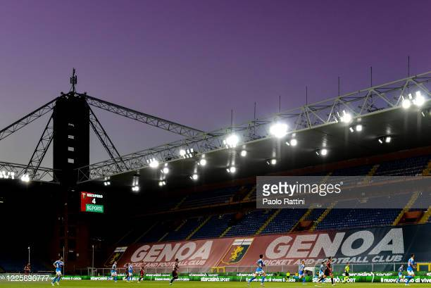 General view during the Serie A match between Genoa CFC and SSC Napoli at Stadio Luigi Ferraris on July 8, 2020 in Genoa, Italy.