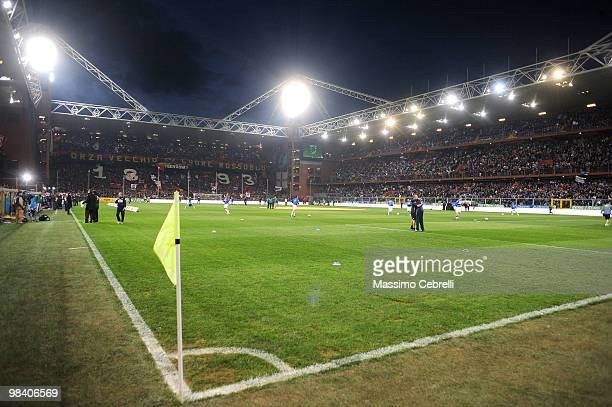 A general view during the Serie A match between UC Sampdoria and Genoa CFC at Stadio Luigi Ferraris on April 11 2010 in Genoa Italy