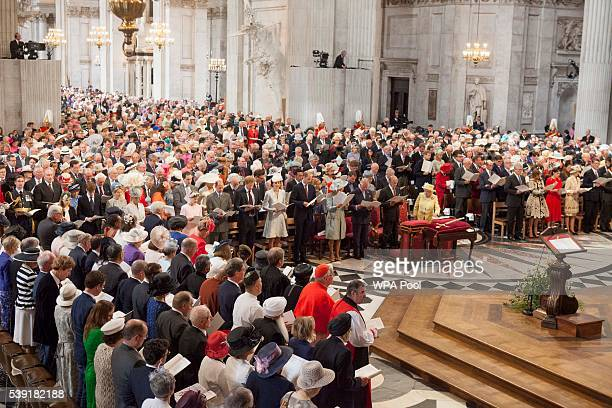 A general view during the service of thanksgiving for Queen Elizabeth II's 90th birthday at St Paul's cathedral on June 10 2016 in London United...