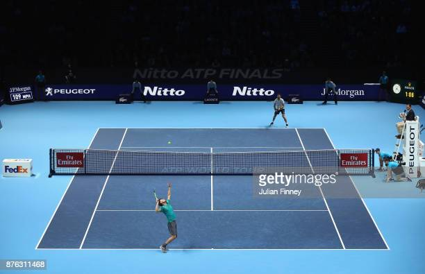 A general view during the singles final between Grigor Dimitrov of Bulgaria and David Goffin of Belgium during day eight of the 2017 Nitto ATP World...