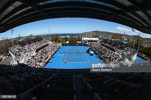 A general view during the singles finals match between Alizé Cornet of France and Eugenie Bouchard of Canada during the 2016 Hobart International at...