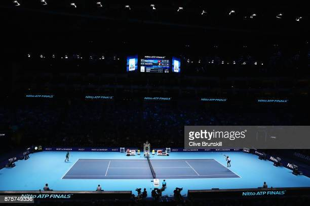 A general view during the Singles Semi Final match between Roger Federer of Switzerland and David Goffin of Belgium on day seven of the Nitto ATP...