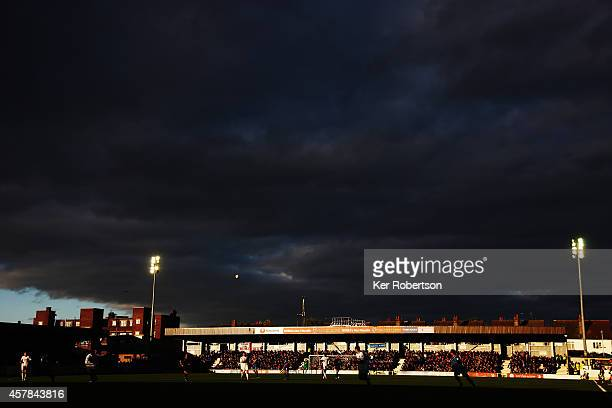 General view during the Sky Bet League Two match between AFC Wimbledon and Tranmere Rovers at The Cherry Red Records Stadium on October 25 2014 in...
