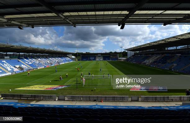 General view during the Sky Bet League Two Play Off Semi-final 1st Leg match between Colchester United and Exeter City at JobServe Community Stadium...
