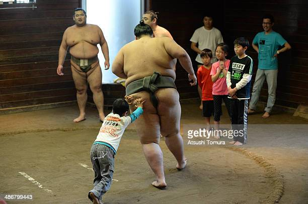 A general view during the Sumo class by former yokozuna Takanohana at the Takanohana Beya on April 26 2014 in Tokyo Japan