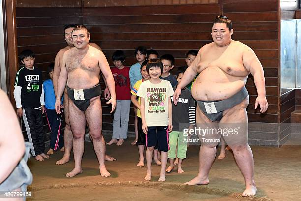 A general view during the Sumo class by former yokozuna Takanohana at the Takanohana Beya on April 26 2014 in Tokyo Japan