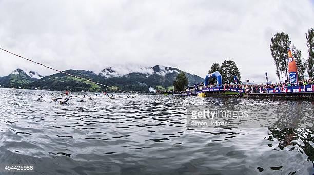 A general view during the swimming at Ironman 703 Zell am SeeKaprun on August 31 2014 in Zell am See Austria